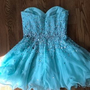 Mori Lee Short Blue Homecoming Dress